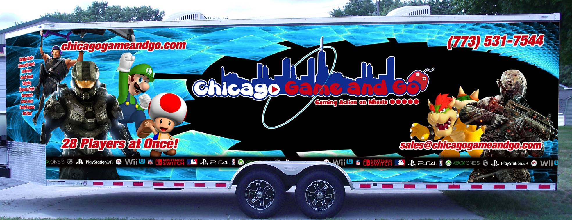 Video game truck for video game parties in Chicago, Illinois